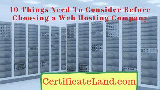 Consider Before Choosing a Web Hosting Company